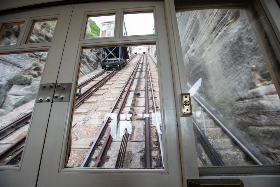 View from inside the East Hill lift carriage, as it goes up