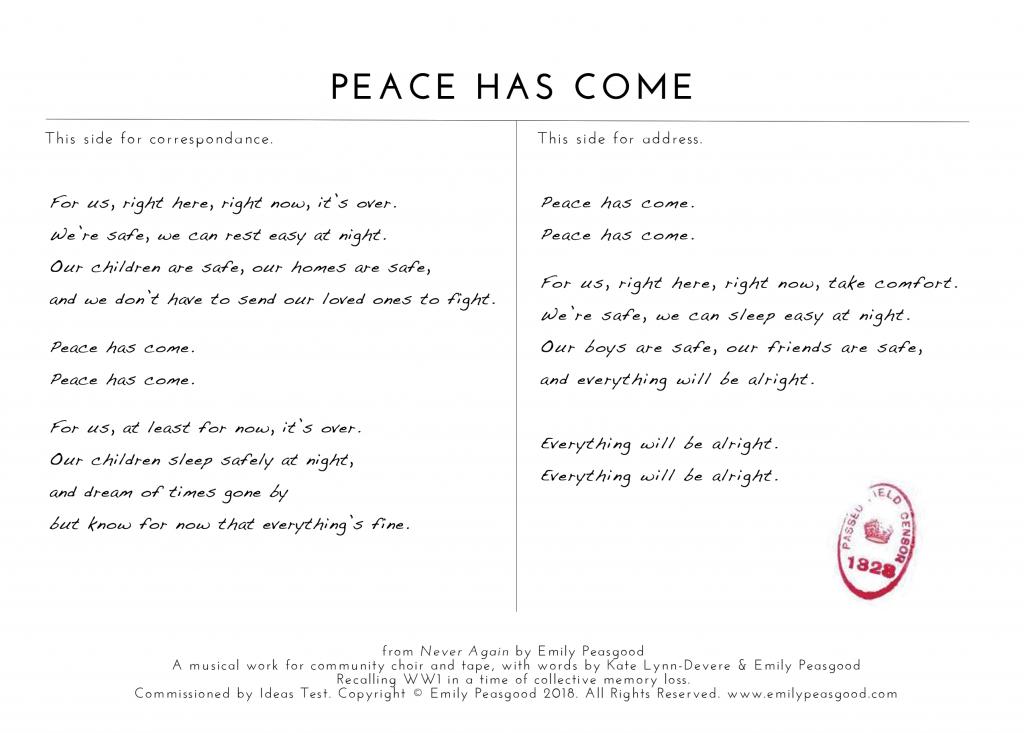 Postcard for Part 5: Peace Has Come